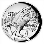 1 Unze Silber Australien Great White Shark High Relief + Box + COA