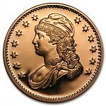 1 Unze Copper Round USA - Capped Bust 999,99 AVDP