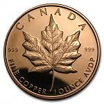 1 Unze Copper Round Maple Leaf 999,99 AVDP