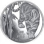 1 Unze Silber Südkorea Tiger 2018 South Korea