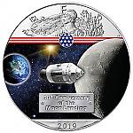 1 Unze Silber coloriert 50 Jahre Mondlandung Way to the Moon USA American Eagle 2019